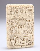 A CHINESE IVORY CARD CASE, CANTON, MID-19TH CENTURY