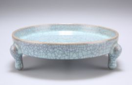 A CHINESE TURQUOISE GLAZED FOOTED DISH