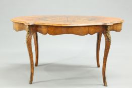 A 19TH CENTURY WALNUT AND FLORAL MARQUETRY CENTRE TABLE