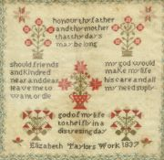 A 19TH CENTURY VERSE SAMPLER, WORKED BY ELIZABETH TAYLOR, DATED 1837