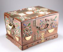 A 19TH CENTURY CHINESE HARDWOOD INLAID DRESSING TABLE CHEST