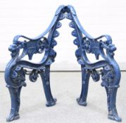 A PAIR OF BLUE PAINTED CAST IRON BENCH ENDS