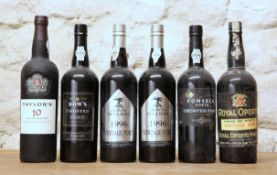6 BOTTLES MIXED LOT SUPERIOR VINTAGE AND CRUSTED PORTS