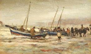 JAMES WILLIAM BOOTH (1867-1953), FISHING COBBLES, RUNSWICK BAY