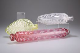 A NAILSEA PINK GLASS ROLLING PIN