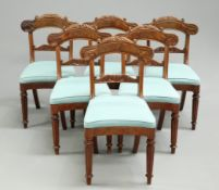 A SET OF SIX VICTORIAN MAHOGANY DINING CHAIRS