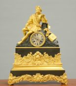A FRENCH GILT AND PATINATED METAL MANTEL CLOCK, 19TH CENTURY