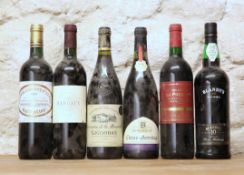 6 BOTTLES MIXED LOT INCLUDING GOOD CLARET, RHONE AND MADEIRA COMPRISING