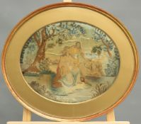 AN EARLY 19TH CENTURY EMBROIDERED SILK PICTURE DEPICTING THE FINDING OF MOSES