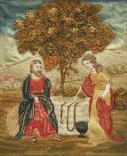 A MID TO LATE 19TH CENTURY EMBROIDERED SILK PICTURE DEPICTING JESUS AND THE SAMARITAN WOMAN AT THE W