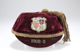 AN INTER-COUNTY ? (RUGBY ?) CAP FOR THE SEASON, THE 1902-3