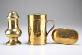 THREE ITEMS OF 18TH CENTURY BRASS