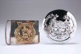 A POST WWII OFFICERS' PATTERN NICKEL-PLATED PLAID BROOCH