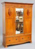 A SATINWOOD WARDROBE AND MARBLE TOPPED WASHSTAND