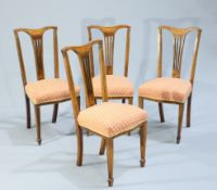 A SET OF FIVE EDWARDIAN INLAID DINING CHIARS