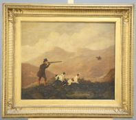 ENGLISH SCHOOL (18TH CENTURY), A SPORTSMAN AND HIS DOGS IN A LAKELAND LANDSCAPE, A PAIR,oil on