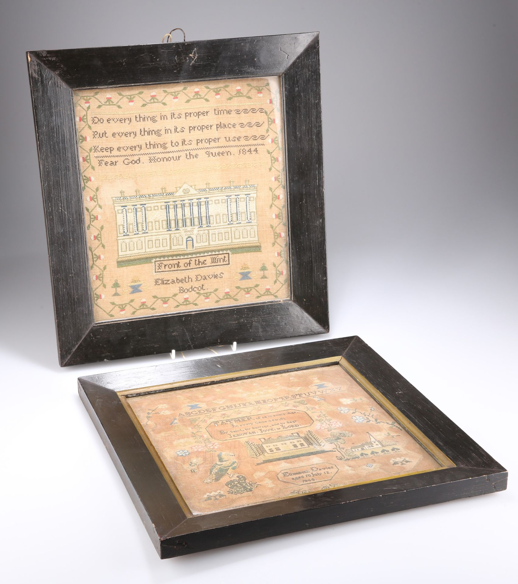 TWO EARLY VICTORIAN NEEDLEWORK SAMPLERS, BY ELIZAB
