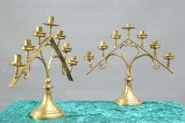 A PAIR OF 19TH CENTURY BRASS SEVEN-LIGHT ECCLESIAS