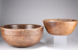 TWO 19TH CENTURY TREEN DAIRY BOWLS