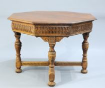 A JACOBEAN REVIVAL OAK CENTRE TABLE, BY GILLOWS, LATE 19TH CENTURY, the moulded octagonal top