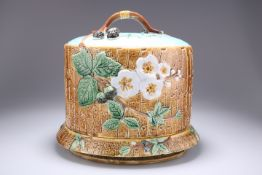 JOSEPH HOLDCROFT, A MAJOLICA CHEESE DOME AND UNDERPLATE, CIRCA 1880