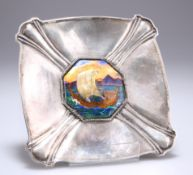 OMAR RAMSDEN (1873-1939), AN ARTS AND CRAFTS SILVER AND ENAMEL DISH