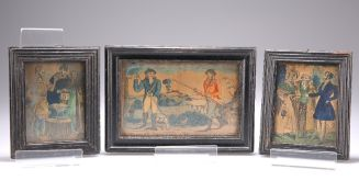 THREE 19TH CENTURY HAND-COLOURED ETCHINGS