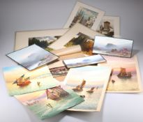 A GROUP OF UNFRAMED WATERCOLOUR DRAWINGS