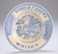 ADVERTISING INTEREST: A BLUE TRANSFER-PRINTED WILLOW PATTERN POTTERY DISH