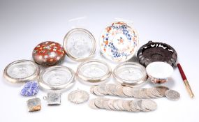 A MIXED LOT, INCLUDING A SET OF FIVE SILVER MOUNTED GLASS COASTERS ETC.