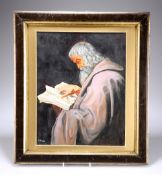 F. MAINE (20TH CENTURY), A BEARDED MAN, POSSIBLY A SAINT, READING