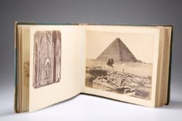 A LATE 19TH/EARLY 20TH CENTURY PHOTOGRAPH ALBUM, ENTITLED 'EGYPT & VENICE'