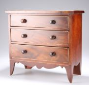AN EARLY 19TH CENTURY MAHOGANY MINIATURE CHEST OF DRAWERS