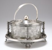 A LATE VICTORIAN SILVER-PLATED AND GLASS BUTTER DISH