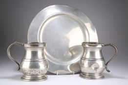 TWO PEWTER QUART TANKARDS AND A PEWTER DISH