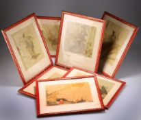A SET OF SEVEN SIMULATED RED LACQUER PICTURE FRAMES