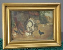 A. ROBSON (20TH CENTURY), FARMYARD SCENE WITH HORSE, COW AND POULTRY