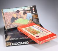 A BOXED SET OF MECCANO, LOTTS BRICKS AND WADDINGTON'S TABLE SOCCER (3)