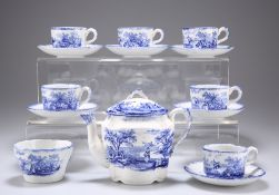 A LATE 19TH CENTURY BLUE TRANSFER-PRINTED DOLLS TEA SERVICE