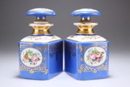 A PAIR OF FRENCH PORCELAIN SCENT BOTTLES AND STOPPERS, CIRCA 1875