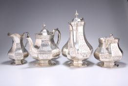 A VICTORIAN SILVER-PLATED FOUR-PIECE TEA AND COFFEE SERVICE
