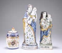TWO 19TH CENTURY QUIMPER POTTERY FIGURES OF THE VIRGIN