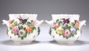 A PAIR OF DRESDEN FLORAL-ENCRUSTED CACHEPOTS