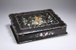 A MOTHER OF PEARL INLAID BLACK LACQUER WRITING SLOPE