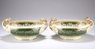 A PAIR OF VIENNA STYLE PORCELAIN TWO-HANDLED BOWLS