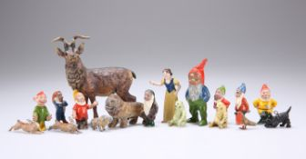 A SET OF PAINTED METAL FIGURES OF SNOW WHITE AND THE SEVEN DWARFS