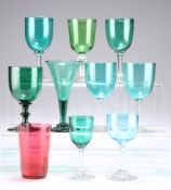 TEN ASSORTED VICTORIAN AND LATER WINE AND OTHER DRINKING GLASSES