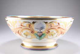 A LARGE CONTINENTAL PAINTED AND GILDED PORCELAIN BOWL
