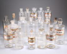 NINETEEN VARIOUS VICTORIAN GLASS APOTHECARY BOTTLES