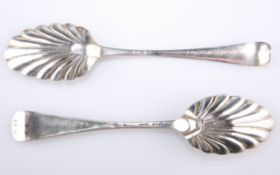 TWO SILVER TABLE SPOONS, CIRCA 1750